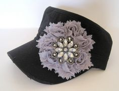 Black Cadet Military Distressed Army Hat with a by theraggedyrose, $35.00
