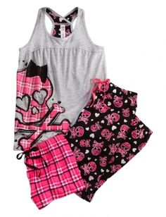 Plaid Skull 3 Piece Pajama Set so pretty! (the only time i would wear pink, but super cute) Pajamas For Teens, Cute Pajamas, Girls Pajamas, Comfy Pajamas, Summer Pajamas, Girls Sleepwear, Satin Pyjama Set, Pajama Set, Womens Fashion Online