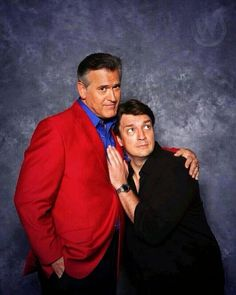 Nathan Fillion & Bruce Campbell. <3 Aim to be groovy!