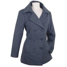 Womens Double Breasted Blazer Wool Pe...