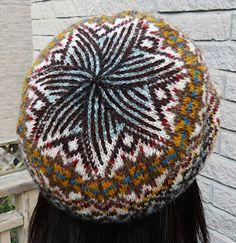 """Tourbillon"" beanie/tam, knit in Jamieson's Shetland Spindrift, from Knitty.com - Winter 2014."
