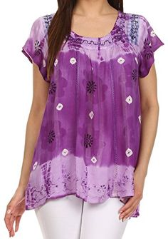 Sakkas 43614 - Short sleeve tie dye gingham peasant top with sequin embroidery - Purple - OS Sakkas http://www.amazon.com/dp/B00UM786MU/ref=cm_sw_r_pi_dp_iE0Gvb0BNVWGG