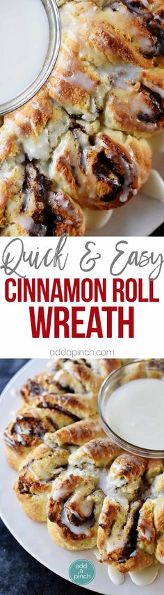 Cinnamon Roll Biscuit Wreath Recipe - Quick and easy this treat has everything you love about a cinnamon roll with the ease of a biscuit in the shape of a festive wreath! // addapinch.com
