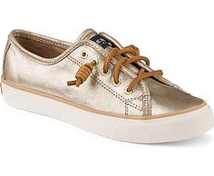 Simple and sophisticated with some extra shine. The Seacoast Sneaker features metallic leather uppers and a vulcanized construction for immediate wear. A removable molded footbed adds lightweight comfort and rawhide lacing completes the look for easy on/o Metallic Sneakers, Slip On Sneakers, Slip On Shoes, Shoes Sneakers, Sperry Sneakers, Women's Shoes, Macys Womens Shoes, Pijamas Women, Cheap Kids Clothes