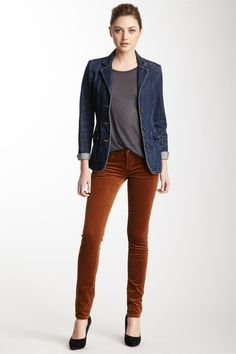 Cult of Individuality Teaser Skinny Corduroy Pant in Rust orange paired with a denim blazer jacket