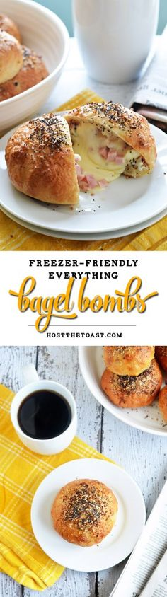 Freezer-Friendly Everything Bagel Bombs. Cheese, ham, and eggs are stuffed into bagel-ified dough for the perfect reheatable breakfast for busy mornings.  Only 240 calories per serving!   hostthetoast.com