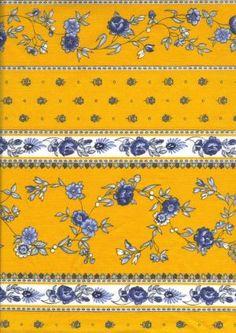 Provence fabric: Paradou jaune-bleu rayure
