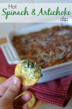 Hot Spinach and Artichoke Dip Recipe:  Well it's been decided and the big game is just two weeks away! So of course instead of football I'm thinking about the appetizers I'll be serving during the game. And this hot spinach and artichoke dip recipe is a must try! Plus, because there's spinach and artichokes...