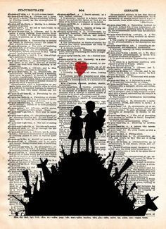 Banksy Children on guns art, revolution street art , vintage dictionary page book art