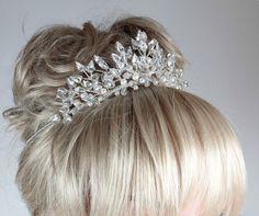 Wedding TiaraBridal Tiara Pearl TiaraCrystal by AnnieLaurieBridal