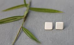 Tiny Silver Square Earrings, square Silver Earrings, Sterling Silver post Earrings, Dainty earrings, simple earrings, everyday earrings