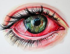 Eye painting by KlarEm on DeviantArt Pencil Art Drawings, Cool Art Drawings, Art Drawings Sketches, Realistic Eye Drawing, Eyes Artwork, Eye Sketch, Eye Painting, Color Pencil Art, Eye Art