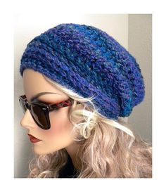 Boho Chic Winter Blues Tweed  Slouchy Beanie Hat  Hand Crocheted Women Teens Fashion Accessories