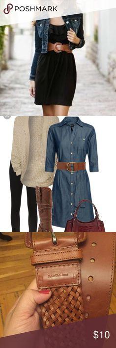 "Calvin Klein Jeans Belt! Nice oversized belt from CKJeans. Brown in color. Medium sized. 38"" woven design. 2.5"" width. Calvin Klein Jeans Accessories Belts"