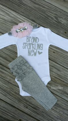 Newborn Outfit Newborn Take Home Outfit Baby Girl Outfit Baby Girl Glitter Outfit Brand Sparking New Onesie by AdassaBaby on Etsy