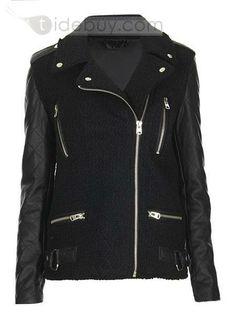 Amazing Black Split Joint Zipper PU Jacket : Tidebuy.com