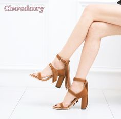 >> Click to Buy << New fashion ladies sandals thick heel leather tassel sandals daily shoes open toe brown suede leather sandals thick heel sandals #Affiliate