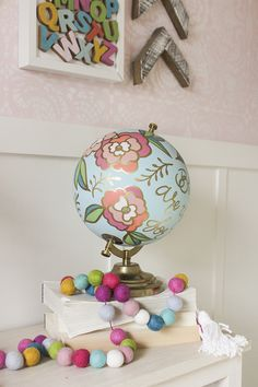 Anthropologic-Inspired hand-painted floral globes. Includes scripture quote on globe.