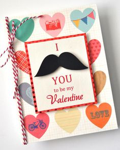 Why buy Valentine's Day cards when you can create your own? Click in for a tutorial on how to craft this DIY mustache card in six simple steps. All you need is cardstock, adhesive, stamps, string and a heart punch. Valentines Gifts For Him, Valentine Day Crafts, Be My Valentine, Valentine Ideas, Kids Valentines, Valentine's Cards For Kids, Art For Kids, Fun Arts And Crafts, Holidays With Kids