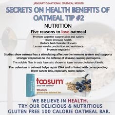Oatmeal tip #2! #OatmealMonth  Go to Toosum.com to select your favorite of our Vegan 100 Calorie GLUTEN FREE & DAIRY FREE Oat Bars! Non-GMO No refined sugar No preservatives No artificial anything -- all natural! . The bar made with none of the bad stuff!!  #toosum #celiacdisease #positive #veganfoodporn #celiac #vegansofinstagram #goodvibes #vegans #motivation #encouragement  #vegan #healthyliving #healthychoices #vegetarian #gmofree #nongmo #organic #glutenfree #dairyfree #cleaneating…