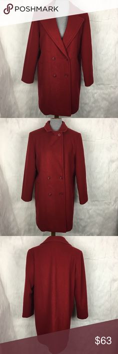 "Vintage L.L. Bean Red 100% Wool Coat vintage L.L. Bean red wool coat. statement coats are in this season, get yours here! can be buttoned up fully or left in a v neck style. two pockets. fully lined. double breasted. rare. high quality piece!  size: 14 (large)  measurements: bust- 22.5"" across waist- 22.5"" across sleeve inseam-16"" length- 36""    fabric content: 100% wool washing instructions: dry clean flaws: light wear overall which is common with vintage items. nothing that detracts…"