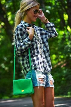 Stylish Shorts With Plaid Shirt
