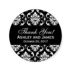 Black and White Wedding Damask Thank You Label Round Sticker, www.zazzle.com