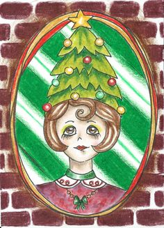 Whimsical Christmas Tree Peppermint Stripe Holiday Winter  - ACEO Print 1 of 10 #Miniature