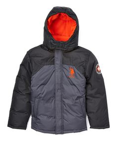 Look at this U.S. Polo Assn. Charcoal & Black Puffer Coat - Toddler & Boys on #zulily today!