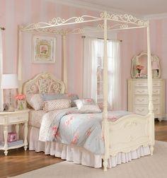 Lea Jessica McClintock Romance Full Poster Bed w/ Metal Canopy