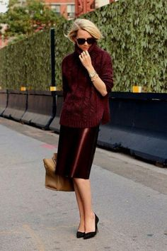 Plan your work outfits in advance this fall - click for 13 ways we love to wear a pencil skirt (including this monochrome, burgundy-oxblood leather style, paired with a cozy turtleneck sweater in a matching hue)