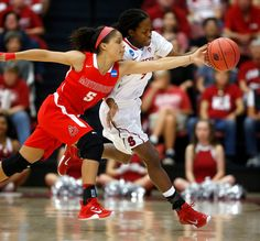 Stanford Cardinal's Lili Thompson (1) fights for a loose ball against Cal State Northridge Matadors' Ashlee Guay (5) in the first half of their 2015 NCAA Division I Women's Basketball Championship first round game at Maples Pavilion in Stanford, Calif., on Saturday, March 21, 2015.  (Nhat V. Meyer/Bay Area News Group)