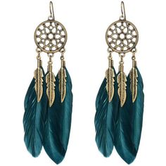 Bohemia Hollow Feather Earring ($7.27) ❤ liked on Polyvore featuring jewelry, earrings, feather jewelry, metal jewelry, metal feather earrings, feather earrings and earring jewelry