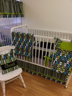 Crib Bedding MADE TO ORDER Groovy Guitar Baby Bedding. $409.00, via Etsy.