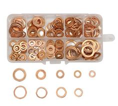 LepoHome 140Pcs 8 Sizes Flat Ring Copper Metric Sealing Washers Assortment Set  VARIOUS SIZE: 140Pcs solid copper sump plug washer set,and have 8 sizes  MATERIAL: Made of Top quality copper material, melting point up to 1083℃, fine workmanship, smooth surface, no burr  High conductivity, corrosion resistant copper washer assortment, great for sump plugs, water, fuel and hydraulic fittings  WIDELY USEAGE: Perfect for electrical connections on household and commercial appliances, automot...