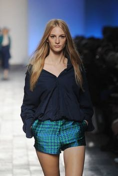 Paul Smith perfected a laid back look with silk shorts and relaxed style shirt in shades of blue #LFW #Inspiredby