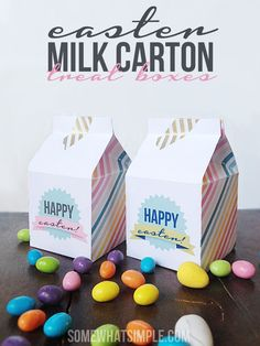 Cute easter milk carton boxes. This would be a fun treat for the older kids who do not hunt eggs.
