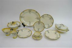 A good and extensive six piece Burleigh Ware Art Deco dinner and tea set in the 'Bouquet yellow' pattern. Stacey's Auctioneers, Oct 2016, GBP200-300 estimate