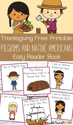 Thanksgiving Easy Reader Book Free Printable with Pilgrims and Native Americans