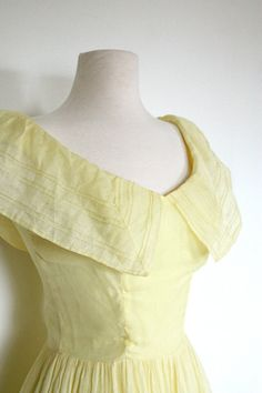 Vintage 1950s Yellow Dress // Butter Yellow