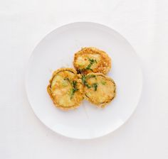 Eggplant Fritters with Mint & Honey (I find that unflavored soy milk works just fine as an egg wash substitute)