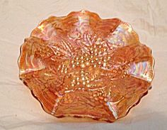 Vintage Imperial Ruffled Marigold Carnival Glass Bowl Grape Design