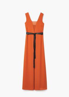 Μακρύ φόρεμα με φιόγκο | MANGO ΜΑΝΓΚΟ
