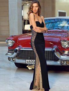 Sheath/Column Sweetheart Beading Chiffon Sleeveless Floor-Length Dresses
