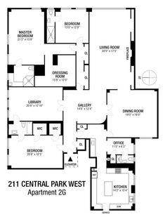 Condo Floor Plans, Apartment Floor Plans, House Plans, New York Apartments, Luxury Apartments, Upper West Side, Floor Layout, Property Records, Architecture Plan