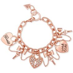 GUESS Logo Heart Multi Chain Toggle Bracelet GoldCrystal Bracelet