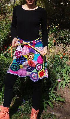 Crochet freeform skirt patchwork multicolor hippi boho by GlamCro