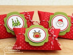 Try these creative ideas for packing and presenting holiday gifts and Christmas Gift Ideas a seasonal makeover of a plain pillow box as a Single Mold Christmas Paper Crafts, Stampin Up Christmas, Noel Christmas, Christmas Pillow, Christmas Goodies, Christmas Wrapping, Christmas Treats, Handmade Christmas, Holiday Crafts