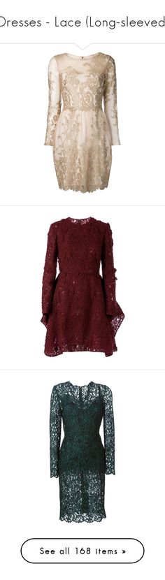 """Dresses - Lace (Long-sleeved)"" by giovanna1995 ❤ liked on Polyvore featuring dress, lace, embroidered, flared, longsleeved, dresses, vestidos, short dresses, cocktail dresses and metallic"