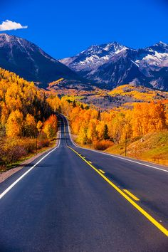 Fall color Colorado Highway 145 in the San Juan Mountains near Telluride Colorado USA. more with healing sounds: Beautiful Roads, Beautiful Landscapes, Beautiful Places, Le Colorado, Colorado Mountains, Telluride Colorado, Pagosa Springs Colorado, San Juan Mountains, Parcs